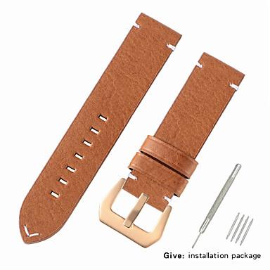 رخيصةأون قيود ساعات-جلد أصلي / شعر العجل حزام حزام إلى أسود / أحمر / بني Other 2.2cm / 0.9 Inches / 2.4cm / 0.94 Inches