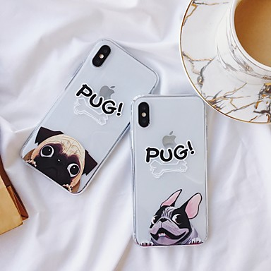 voordelige iPhone 6 hoesjes-hoesje Voor Apple iPhone XS / iPhone XR / iPhone XS Max Schokbestendig / Stofbestendig / Transparant Achterkant Hond / Transparant / Cartoon TPU