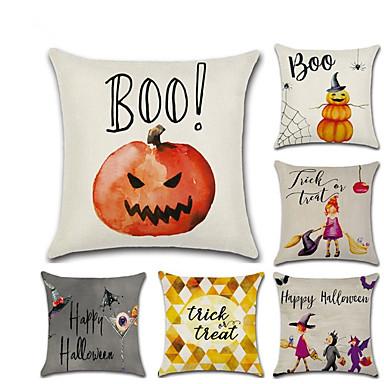 رخيصةأون وسائد-6 جهاز كمبيوتر شخصى كتان غطاء الوسادة, تصميم خاص عطلة تقليدي Halloween وسادة رمي
