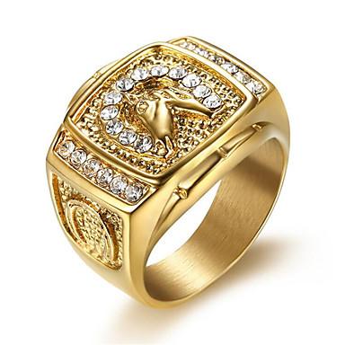 رخيصةأون خواتم-رجالي خاتم مكعب زركونيا 1PC ذهبي الصلب التيتانيوم Geometric Shape أنيق مناسب للبس اليومي مجوهرات كلاسيكي أمل كوول
