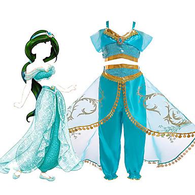 Princess Jasmine Haljine Cosplay Nošnje Cvjetna djevojka haljina Dječji Djevojčice Line-Slip Halloween Božić Halloween Karneval Festival / Praznik Til Polyster Zelen / LightBlue Karneval kostime