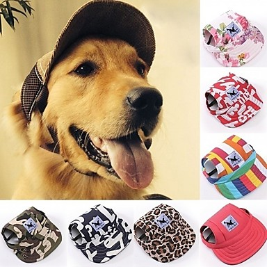 cheap Dog Clothing & Accessories-Cat Dog Hoodie Sport Hat Visor Cap Dog Clothes Camouflage Color Stripe Red / White Costume Husky Labrador Alaskan Malamute Terylene Oxford Fabric Floral Botanical S M L XL
