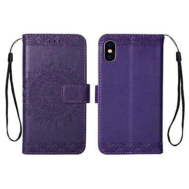 رخيصةأون أغطية أيفون-غطاء من أجل Apple iPhone XR / iPhone XS Max / iPhone X محفظة / حامل البطاقات / مطرز غطاء خلفي نموذج هندسي قاسي جلد PU