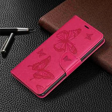Недорогие Чехлы и кейсы для Xiaomi-Кейс для Назначение Xiaomi Xiaomi Redmi 6 Pro / Xiaomi Redmi Note 7 / Xiaomi Redmi 7 Кошелек / Бумажник для карт / со стендом Чехол Бабочка Твердый Кожа PU