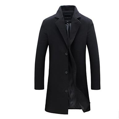 رخيصةأون جواكيت رجالي-رجالي مناسب للبس اليومي خريف & شتاء طويلة معطف, لون سادة شق الصدر للذروة كم طويل بوليستر أسود / أزرق / أزرق البحرية