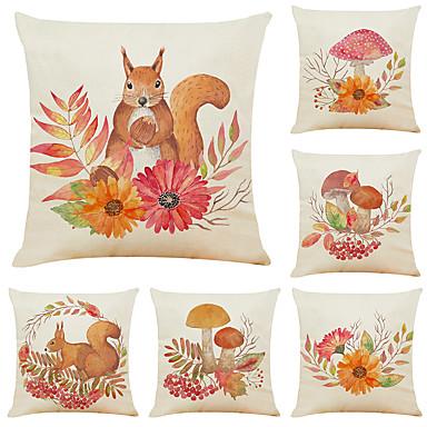 baratos Almofadas-Conjunto de 6 esquilos linho quadrado decorativo lance fronhas capas de almofada do sofá 18x18