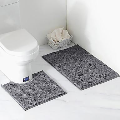 Yiwu pho_08aq Chenille pluche tapijt badkamer tweedelige vloermat toilet waterabsorberende badkamer anti-skir neil vloermat 50 × 80cm / 50 × 50cm (tweedelige set) _roze