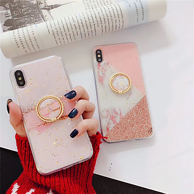 voordelige iPhone 6 Plus hoesjes-hoesje voor Apple iPhone XS Max / iPhone 8 plus stofdicht / ringhouder / IMD Full body hoes Marble Soft TPU voor iPhone 7/7 Plus / 8/6/6 Plus / XR / X / XS
