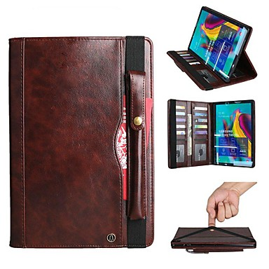 cheap Tablet Cases-Case For Samsung Galaxy Samsung Tab S5e T720 10.5 / Samsung Tab A 10.1(2019)T510 Wallet / Card Holder / Shockproof Full Body Cases Solid Colored Hard PU Leather / Genuine Leather