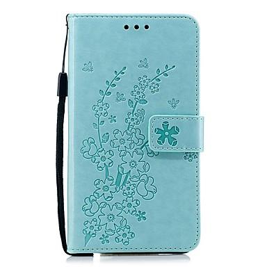 Недорогие Чехлы и кейсы для Nokia-Кейс для Назначение Nokia Кошелек / Бумажник для карт / Защита от удара Чехол Однотонный / Цветы Кожа PU