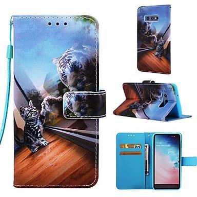 Недорогие Чехлы и кейсы для Galaxy S-Кейс для Назначение SSamsung Galaxy S9 / S9 Plus / S8 Plus Кошелек / Бумажник для карт / со стендом Чехол Кот Твердый Кожа PU