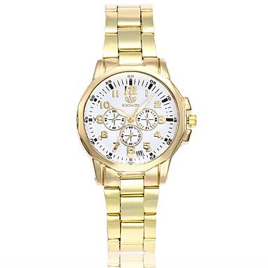 رخيصةأون ساعات النساء-نسائي ساعة فستان كوارتز ثلاث مناطق زمنية مماثل الحد الأدنى - أسود أبيض ذهبي