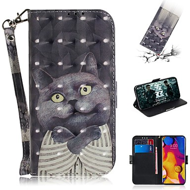 Недорогие Чехлы и кейсы для LG-чехол для LG v40 thinq / LG Stylo 5 / LG G8 thinq кошелек / визитница / противоударный чехлы для всего тела кошка кожа
