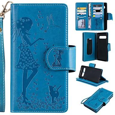Недорогие Чехлы и кейсы для Galaxy S-Кейс для Назначение SSamsung Galaxy S9 / S9 Plus / S8 Plus Кошелек / Бумажник для карт / со стендом Чехол Кот / Соблазнительная девушка Твердый Кожа PU