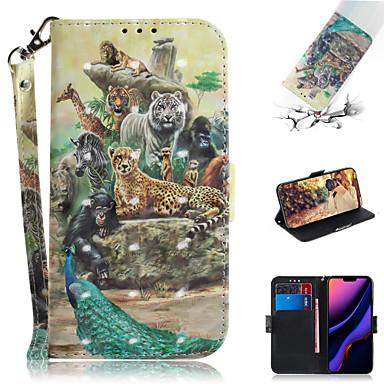 voordelige iPhone 6 hoesjes-hoesje Voor Apple iPhone XS / iPhone XR / iPhone XS Max Portemonnee / Kaarthouder / met standaard Volledig hoesje dier / 3D Cartoon PU-nahka