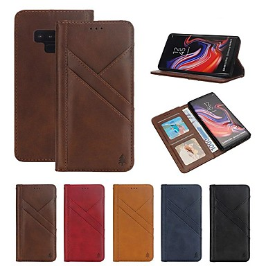 Недорогие Чехлы и кейсы для Galaxy Note-Кейс для Назначение SSamsung Galaxy Note 9 Кошелек / Бумажник для карт / Защита от удара Чехол Полосы / волосы Твердый Настоящая кожа