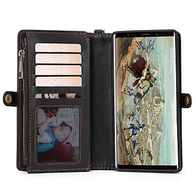 Недорогие Чехлы и кейсы для Galaxy Note-Кейс для Назначение SSamsung Galaxy Note 9 Кошелек / Бумажник для карт / Флип Чехол Однотонный Кожа PU