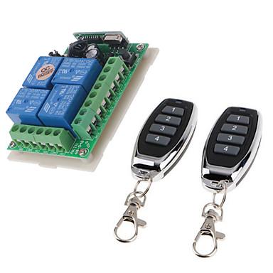 povoljno Pametna kuća-dc12v 4ch bežični daljinski upravljač prekidač / pametni relej prijemnik 10a relej / trenutni / prekidač / zaključan radni način može promijeniti / 433mhz jednostavan za instalaciju / dc12v