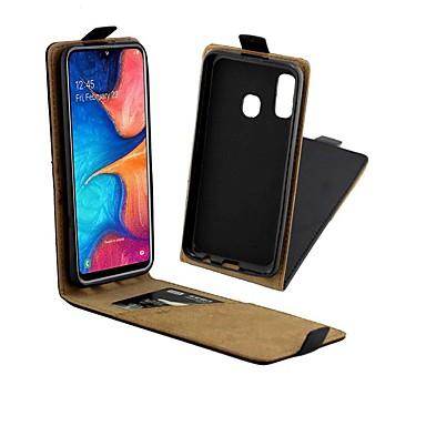 رخيصةأون حافظات / جرابات هواتف جالكسي A-غطاء من أجل Samsung Galaxy A6 (2018) / A6+ (2018) / Galaxy A7(2018) حامل البطاقات / ضد الصدمات / قلب غطاء كامل للجسم لون سادة قاسي جلد أصلي
