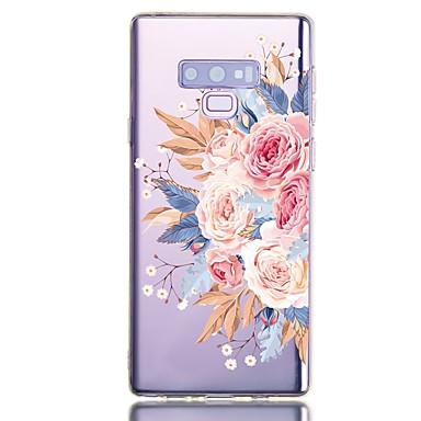 Недорогие Чехлы и кейсы для Galaxy Note-Кейс для Назначение SSamsung Galaxy Note 9 Защита от удара / Прозрачный / С узором Кейс на заднюю панель Цветы Мягкий ТПУ