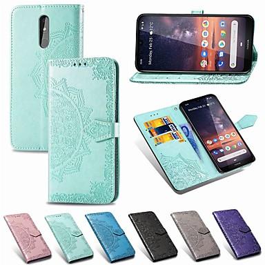 Недорогие Чехлы и кейсы для Nokia-Кейс для Назначение Nokia Nokia 9 PureView / Nokia 7 Plus / Nokia 7.1 Кошелек / Бумажник для карт / Защита от удара Чехол Однотонный Твердый Кожа PU