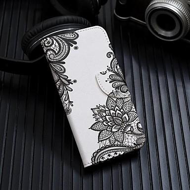 Недорогие Чехлы и кейсы для Galaxy Note-Кейс для Назначение SSamsung Galaxy Note 9 / Note 8 / Galaxy Note 10 Кошелек / Бумажник для карт / со стендом Чехол Цветы Кожа PU