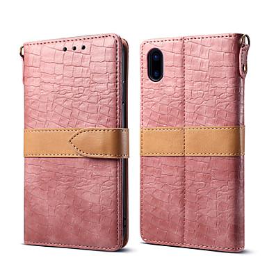 Недорогие Кейсы для iPhone-Кейс для Назначение Apple iPhone XS / iPhone XR / iPhone XS Max Кошелек / Бумажник для карт / со стендом Чехол Однотонный Настоящая кожа