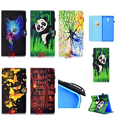olcso Galaxy Tab 4 10.1 tokok-Case Kompatibilitás Samsung Galaxy Tab 4 10.1 / Tab S4 10.5 (2018) / Galaxy Tab A2 10.5 (2018) T595 T590 Kártyatartó / Ütésálló / Állvánnyal Héjtok Cica / Pillangó / Panda Kemény PU bőr