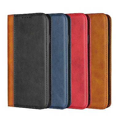 Недорогие Кейсы для iPhone 6-Кейс для Назначение Apple iPhone XS / iPhone XR / iPhone XS Max Кошелек / Бумажник для карт / Защита от удара Чехол Однотонный Твердый Настоящая кожа