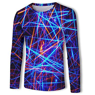 abordables Camisetas y Tops de Hombre-Hombre Básico / Chic de Calle Talla EU / US Estampado Camiseta, Escote Redondo Geométrico / Bloques / 3D Azul Real / Manga Larga