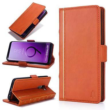 Недорогие Чехлы и кейсы для Galaxy S-Кейс для Назначение SSamsung Galaxy S9 / S9 Plus / S8 Plus Кошелек / Бумажник для карт / Защита от удара Чехол Полосы / волосы Твердый Настоящая кожа