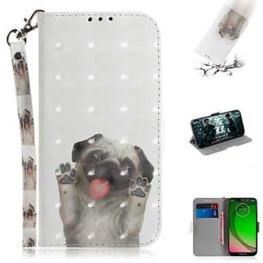 Недорогие Чехлы и кейсы для Motorola-Кейс для Назначение Motorola Мото G7 / Мото G7 Plus / Moto G7 Play Кошелек / Бумажник для карт / со стендом Чехол Животное / 3D в мультяшном стиле Кожа PU
