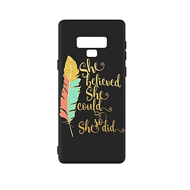Недорогие Чехлы и кейсы для Galaxy Note-Кейс для Назначение SSamsung Galaxy Note 9 Защита от удара / Матовое / С узором Кейс на заднюю панель Слова / выражения /  Перья ТПУ