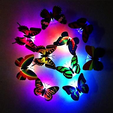 olcso LED izzó újdonságok-divat 7-színű változó aranyos pillangó vezetett éjszakai fény otthon szoba asztal fal dekoráció 1db
