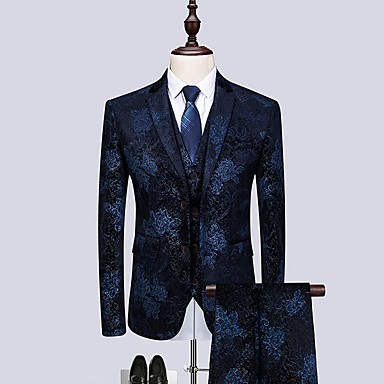 cheap Tuxedos & Suits-Burgundy / Dark Navy Patterned Tailored Fit Cotton Suit - Notch Single Breasted Two-buttons