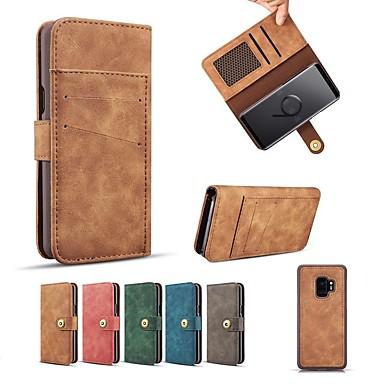 Недорогие Чехлы и кейсы для Galaxy S-Кейс для Назначение SSamsung Galaxy S9 / S9 Plus / S8 Plus Кошелек / Бумажник для карт / со стендом Чехол Однотонный Твердый Кожа PU / Настоящая кожа