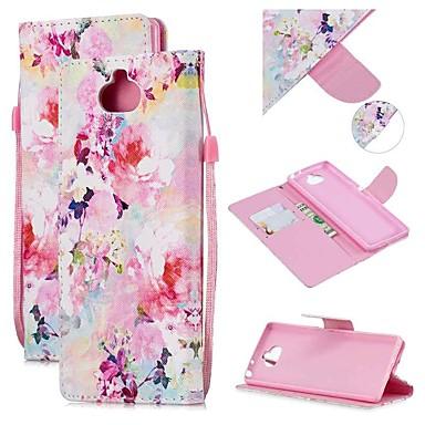 Недорогие Чехлы и кейсы для Sony-Кейс для Назначение Sony Sony Xperia 10 / Sony Xperia XZ3 / Xperia XZ2 Compact Кошелек / Бумажник для карт / Защита от удара Чехол Цветы Кожа PU
