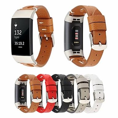 abordables Bracelets pour Fitbit-bracelet de montre pour fitbit charge 3 boucle classique fitbit bracelet en cuir véritable