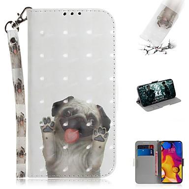 Недорогие Чехлы и кейсы для LG-чехол для lg v40 thinq / lg stylo 5 / lg g8 thinq кошелек / визитница / противоударный чехол для всего тела собака искусственная кожа