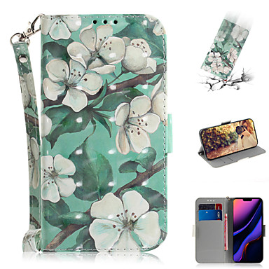 Недорогие Кейсы для iPhone-Кейс для Назначение Apple iPhone XS / iPhone XR / iPhone XS Max Кошелек / Бумажник для карт / со стендом Чехол Цветы Кожа PU