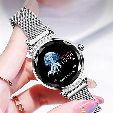 H 2スマートウォッチ女性3dダイヤモンドガラス心拍数血圧睡眠モニター最高の贈り物スマートウォッチ