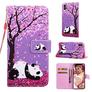 voordelige iPhone 8 hoesjes-hoesje Voor Apple iPhone XS / iPhone XR / iPhone XS Max Portemonnee / Kaarthouder / met standaard Volledig hoesje Panda / Bloem Hard PU-nahka