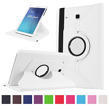 voordelige Samsung Tab-serie hoesjes / covers-hoesje Voor Samsung Galaxy Tab E 9.6 Kaarthouder / Schokbestendig Volledig hoesje Effen Hard PU-nahka