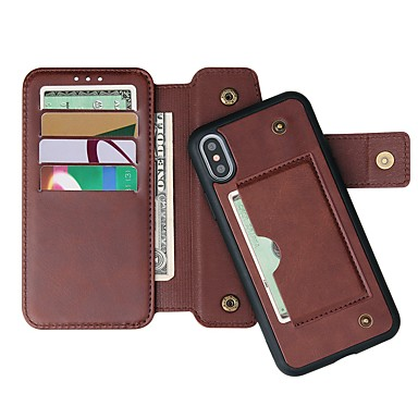 Недорогие Кейсы для iPhone-Кейс для Назначение Apple iPhone 11 / iPhone 11 Pro / iPhone 11 Pro Max Кошелек / Бумажник для карт / со стендом Чехол Однотонный Настоящая кожа