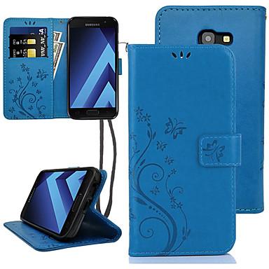 Недорогие Чехлы и кейсы для Galaxy A5-Кейс для Назначение SSamsung Galaxy A5 Бумажник для карт / Флип Чехол Цветы Твердый Кожа PU
