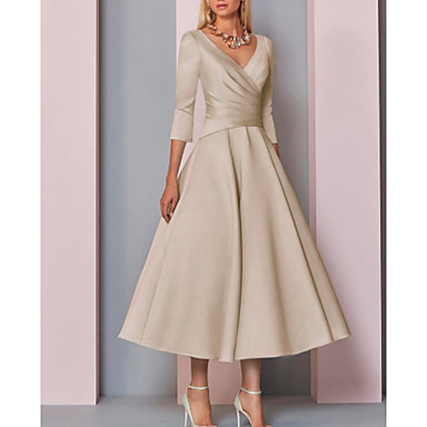cheap Weddings & Events-A-Line Plunging Neck Ankle Length Satin Mother of the Bride Dress with Pleats by LAN TING Express