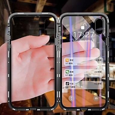 Недорогие Кейсы для iPhone X-односторонний магнитный чехол для телефона apple iphone x / iphone 8 plus / iphone 8 пылезащитный / откидной / прозрачный чехлы для корпуса прозрачное закаленное стекло / металл / алюминий