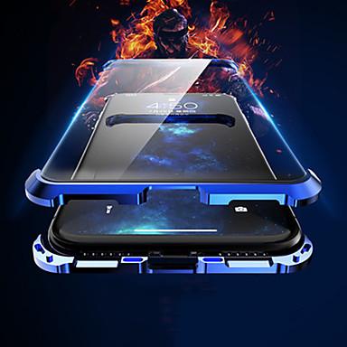 Недорогие Кейсы для iPhone-магнитный двухсторонний чехол для яблока iphone xs / iphone xr / iphone xs max flip / магнитная задняя крышка однотонная / прозрачный алюминий