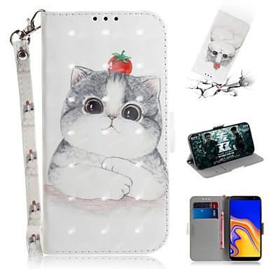 voordelige Galaxy J-serie hoesjes / covers-hoesje Voor Samsung Galaxy J5 (2016) / Galaxy J4 Plus (2018) / Galaxy J6 Plus (2018) Portemonnee / Kaarthouder / met standaard Volledig hoesje dier / 3D Cartoon PU-nahka