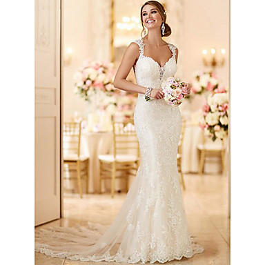 cheap Wedding Dresses-Mermaid / Trumpet V Neck Sweep / Brush Train Lace Spaghetti Strap Mordern / Sexy Backless Made-To-Measure Wedding Dresses with 2020